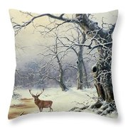A Stag In A Wooded Landscape  Throw Pillow by Nils Hans Christiansen