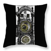 Bw Prague The Horologue At Oldtownhall Throw Pillow by Yuriy  Shevchuk
