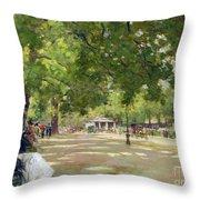 Hyde Park - London Throw Pillow by Count Girolamo Pieri Nerli