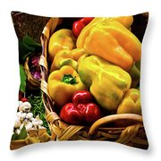 Italian Peppers Throw Pillow by Harry Spitz