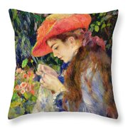Marie Therese Durand Ruel Sewing Throw Pillow by Pierre Auguste Renoir