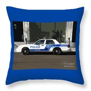 Montreal Police Car Poster Art Throw Pillow by Reb Frost