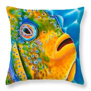 Spotted Angelfish Throw Pillow by Daniel Jean-Baptiste