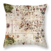 Nina: World Map, 1500 Throw Pillow by Granger