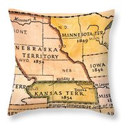 Kansas-nebraska Map, 1854 Throw Pillow by Granger