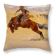 A Cold Morning On The Range Throw Pillow by Frederic Remington