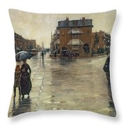 A Rainy Day In Boston Throw Pillow by Childe Hassam