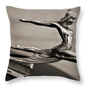 Art Deco Hood Ornament Throw Pillow by Marilyn Hunt