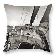 Beneteau 49 Sailing Yacht Close Hauled Charleston Sunset Sailboat Throw Pillow by Dustin K Ryan