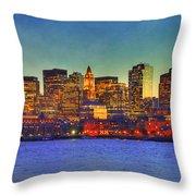 Boston Skyline Sunset Throw Pillow by Joann Vitali