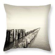 Breakwaters Throw Pillow by Wim Lanclus
