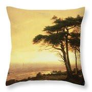 California Coast Throw Pillow by Albert Bierstadt