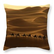 Camel Caravan In The Erg Chebbi Southern Morocco Throw Pillow by Ralph A  Ledergerber-Photography