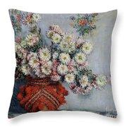 Chrysanthemums Throw Pillow by Claude Monet