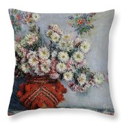 Chrysanthemums Throw Pillow by Claude Monet