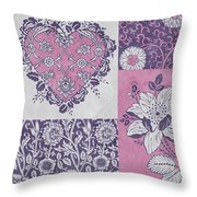 Deco Heart Pink Throw Pillow by JQ Licensing