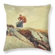 Down The Cliff Throw Pillow by Winslow Homer