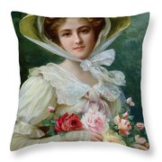 Elegant Lady With A Bouquet Of Roses Throw Pillow by Emile Vernon