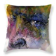 Face with Tree Throw Pillow by John D Benson