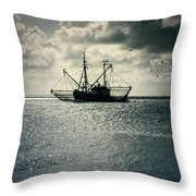 fishing boat Throw Pillow by Joana Kruse