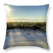 Folly Beach Sunrise Over Morris Island Throw Pillow by Dustin K Ryan