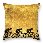 Illustration Of Cyclists Throw Pillow by Bernard Jaubert