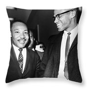 King And Malcolm X, 1964 Throw Pillow by Granger