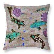 Koi Fish Feng Shui Throw Pillow by Georgeta  Blanaru