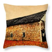 Lime Stone Barn Throw Pillow by Julie Hamilton