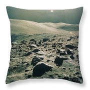 Lunar Rover At Rim Of Camelot Crater Throw Pillow by NASA / Science Source