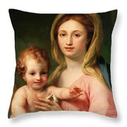 Madonna And Child Throw Pillow by Anton Raphael Mengs