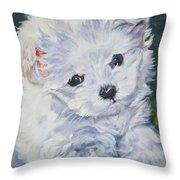 Maltese Throw Pillow by Lee Ann Shepard