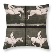 Man and horse jumping a fence Throw Pillow by Eadweard Muybridge