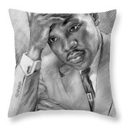 Martin Luther King Jr Throw Pillow by Ylli Haruni