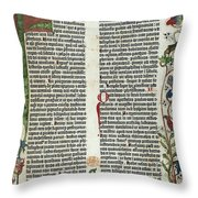 Page Of The Gutenberg Bible, 1455 Throw Pillow by Photo Researchers