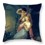 Paul And Virginie Throw Pillow by French School