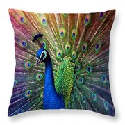 Peacock Throw Pillow by Hannes Cmarits