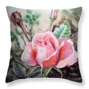 Pink Rose with Dew Drops Throw Pillow by Irina Sztukowski