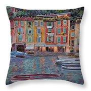 Portofino Al Crepuscolo Throw Pillow by Guido Borelli