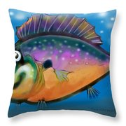 Rainbow Fish Throw Pillow by Kevin Middleton