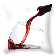 Red Wine Poured Into Wineglass Throw Pillow by Dustin K Ryan