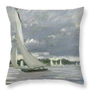 Regatta At Argenteuil Throw Pillow by Claude Monet