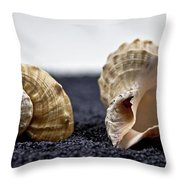 Seashells On Black Sand Throw Pillow by Joana Kruse