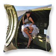 Sexy 1940s Style Pin-up Girl Standing Throw Pillow by Christian Kieffer