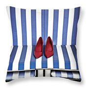 Shoes In A Beach Chair Throw Pillow by Joana Kruse