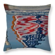 Stars And Stripes On The Water Throw Pillow by Steven Lapkin