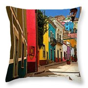 Street of Color Guanajuato 2 Throw Pillow by Mexicolors Art Photography