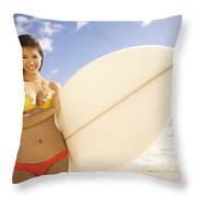 Surfer Girl Throw Pillow by Sri Maiava Rusden - Printscapes