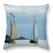 Tall Ships Sailing I Throw Pillow by Suzanne Gaff
