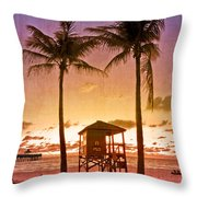 The Beach Throw Pillow by Debra and Dave Vanderlaan